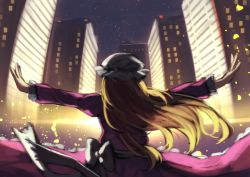1girl berabou blonde_hair bloom bow cityscape dress from_behind hat juliet_sleeves long_hair long_sleeves maribel_hearn mob_cap night night_sky outstretched_arms puffy_sleeves purple_dress sash sky solo star_(sky) starry_sky touhou upper_body white_bow