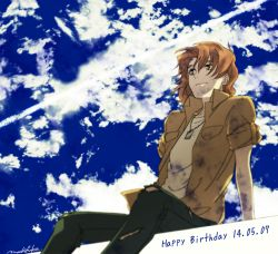 1boy arm_support brown_eyes brown_hair cloud dated denim fading happy_birthday jeans jewelry kasugai_koyo machi_fuka male_focus necklace pants short_hair signature sitting sky sleeves_rolled_up smile solo soukyuu_no_fafner torn_clothes torn_jeans
