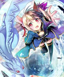1girl animal_ears brown_hair cat_ears dragon highres pina_(sao) red_eyes sho_(runatic_moon) short_hair silica silica_(sao-alo) sword_art_online twintails