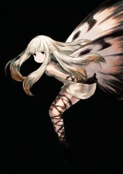 1girl aerie_(bravely_default) bravely_default:_flying_fairy butterfly_wings dress elbow_gloves fairy gloves junwool long_hair looking_at_viewer pointy_ears simple_background solo white_hair wings