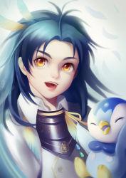 1boy bird blue_hair crossover ecat feathers hair_feathers highres male_focus open_mouth penguin piplup pokemon pokemon_(creature) smile taikogane_sadamune touken_ranbu upper_body yellow_eyes