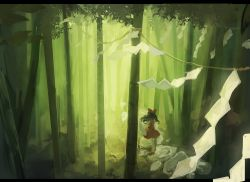 1girl bamboo bamboo_forest black_hair bow detached_sleeves foreshortening forest from_behind hair_bow hakurei_reimu highres letterboxed long_hair nature nazoko red_shoes red_skirt rope scenery shimenawa shoes skirt sleeveless solo standing stone touhou wind