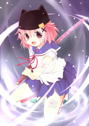 1girl animal_hat bandage cat_hat gakkou_gurashi! gradient_background hat katana pink_hair red_eyes sakuraba_hikaru_(artist) school_uniform short_hair solo sword takeya_yuki torn_clothes weapon