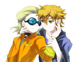 2boys child dylan_keith goggles gorugon inazuma_eleven inazuma_eleven_(series) male_focus mark_kruger multiple_boys shirt simple_background tagme yaoi