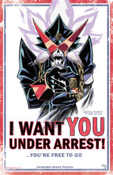 armband artist_name chains english fangs gloves hat i_want_you medal mike_luckas military military_hat military_uniform over_justice parody pointing pointing_at_viewer poster_(object) shiny skull sunglasses trigger_(company) uchuu_patrol_luluco uniform