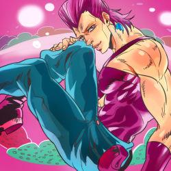 1boy anz earrings jean_pierre_polnareff jewelry jojo_no_kimyou_na_bouken pink_hair solo