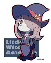 1girl bangs belt blue_ribbon chibi collar collared_shirt copyright_name dress english expressionless eyebrows eyebrows_visible_through_hair full_body hair_over_one_eye hat kurono lavender_hair little_witch_academia long_hair long_sleeves looking_at_viewer neck_ribbon outline pale_skin red_eyes ribbon school_uniform shirt sleeves_past_wrists solo standing sucy_manbavaran swept_bangs twitter_username white_background wide_sleeves witch_hat