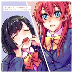 black_hair blush green_eyes long_hair low_twintails misogi multiple_girls open_mouth red_hair sakaki_shizuka shirobako translation_request twintails yasuhara_ema