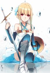 1girl armor armored_boots blonde_hair blue_legwear boots detached_sleeves dress holding_sword holding_weapon looking_at_viewer original phantania pixiv_fantasia pixiv_fantasia_new_world red_eyes shield solo strapless strapless_dress sword thighhighs weapon white_dress