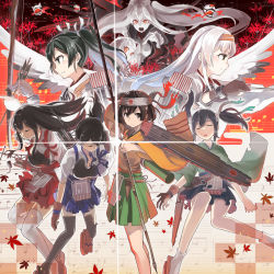 6+girls aircraft_carrier_hime akagi_(kantai_collection) arrow black_hair black_legwear blue_skirt bow breasts brown_eyes brown_hair cleavage collarbone enemy_aircraft_(kantai_collection) eyes_closed flight_deck glowing glowing_eyes green_skirt grey_hair hair_between_eyes headband highres hiryuu_(kantai_collection) horns kaga_(kantai_collection) kantai_collection large_breasts long_hair long_sleeves looking_at_viewer multiple_girls northern_ocean_hime open_mouth pale_skin quiver red_eyes red_skirt remodel_(kantai_collection) shinkansen shoukaku_(kantai_collection) side_ponytail silver_hair skirt socks souryuu_(kantai_collection) sugue_304 thighhighs torn_clothes turret twintails very_long_hair white_hair white_legwear wide_sleeves zuikaku_(kantai_collection)