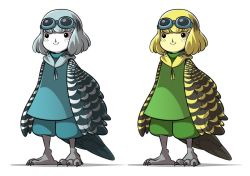 2girls black_eyes blonde_hair blue_eyes claws freckles goggles goggles_on_head harpy mary_cagle monster_girl multiple_girls original smile wings
