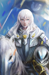 1boy absurdres armor barding berserk black_xiao_hei blue_eyes breastplate cape carrying_under_arm flag griffith hair_between_eyes headwear_removed helmet helmet_removed highres horse horseback_riding long_hair looking_at_viewer male_focus riding solo sword weapon white_hair