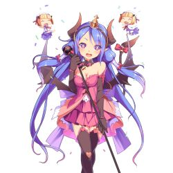 3girls aoi_tsunami blue_hair breasts charmy_(uchi_no_hime-sama) cleavage confetti crown demon_girl demon_horns demon_tail demon_wings dress elbow_gloves fang garter_straps gloves hairband heart heart-shaped_pupils holding horns long_hair looking_at_viewer medium_breasts microphone mini_crown minigirl multiple_girls official_art open_mouth pointy_ears purple_eyes round_teeth symbol-shaped_pupils tail tail_ring teeth thighhighs transparent_background uchi_no_hime-sama_ga_ichiban_kawaii very_long_hair wings