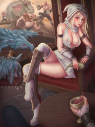 >_< 1girl 3boys @_@ alcohol anivia armlet ashe_(league_of_legends) bald barrel beard blonde_hair blue_eyes blush boots bowl braum_(league_of_legends) breasts broken candle candlestand chair cleavage drunk eliskalti erect_nipples eyelashes eyes_closed facial_hair food freljord_ashe goblet gragas high_heel_boots high_heels highres holding hood horn large_breasts league_of_legends legs_crossed lips long_hair looking_at_viewer md5_mismatch multiple_boys muscle mustache nose nunu open_mouth panties pants pantyshot pantyshot_(sitting) parted_lips pitcher pov revision rug see-through sitting solo_focus spill spilling standing_on_object thigh_boots thighhighs topless underwear white_panties willump wine yeti_(creature)