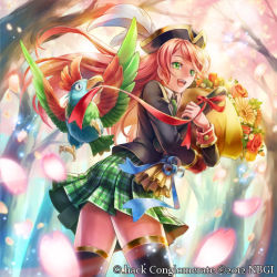 .hack// 1girl 2012 bird black_legwear blazer bouquet charlotte_(guilty_dragon) feathers flower green_eyes green_skirt guilty_dragon hat kato_ayaka long_hair parrot plaid plaid_skirt red_hair ribbon school_uniform skirt smile solo thighhighs