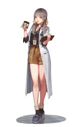 1girl absurdres belt bow character_name clipboard cup doctor full_body hair_bow highres jewelry labcoat long_hair looking_at_viewer low_twintails mug name_tag necklace one_touch open_mouth shorts smile solo standing twintails white_background yellow_eyes