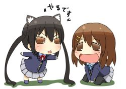 2girls :d animal_ears b-man black_hair blazer brown_eyes brown_hair cat_ears chibi hair_ornament hairclip hirasawa_yui k-on! kemonomimi_mode long_hair multiple_girls nakano_azusa open_mouth pleated_skirt puchimasu! school_uniform short_hair simple_background sitting skirt smile translation_request twintails white_background