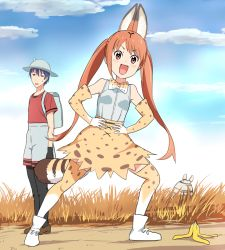 >:d 1boy 1girl :d aho_girl akutsu_akuru animal_ears annoyed backpack bag banana_peel black_gloves blue_hair blue_sky bow bowtie brown_eyes bucket_hat cloud cosplay day elbow_gloves exercise gloves grass hanabatake_yoshiko hands_on_hips hat high-waist_skirt jitome kaban_(kemono_friends) kaban_(kemono_friends)_(cosplay) kemono_friends long_hair looking_at_another looking_at_viewer mushi_gyouza open_mouth outdoors print_bowtie print_gloves print_legwear print_skirt red_hair red_shirt savanna_striped_giant_slug_(kemono_friends) savannah serval_(kemono_friends) serval_(kemono_friends)_(cosplay) serval_ears serval_print serval_tail shirt short_hair shorts skirt sky sleeveless sleeveless_shirt smile sweatdrop tail thighhighs twintails white_shirt
