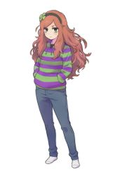 1girl 4chan bags_under_eyes clover denim female four-leaf_clover freckles full_body green_eyes hairband jeans long_hair looking_at_viewer no_shoes pants red_hair simple_background socks solo standing sweater vivian_james white_background yahlantykan