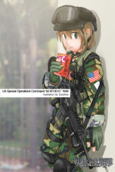 1girl american_flag artist_name assault_rifle blush brown_hair drinking drinking_straw dutchko gloves goggles goggles_on_head green_eyes gun helmet hi-c juice_box knee_pads leaning leaning_back looking_at_viewer m4_carbine military military_uniform original rifle short_hair sling soldier solo standing throat_microphone uniform weapon