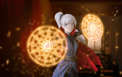 1girl blue_eyes cloak crossover glyph ikran long_hair magic parody rwby scar side_ponytail weiss_schnee white_hair