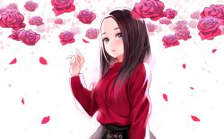 1girl arm_at_side artist_name black_skirt blue_eyes breasts brown_hair closed_mouth commentary eyelashes flower gendo0033 highres lee_hi lipstick long_hair long_sleeves makeup medium_breasts petals real_life real_life_insert red_rose red_shirt rose shirt skirt solo upper_body white_background