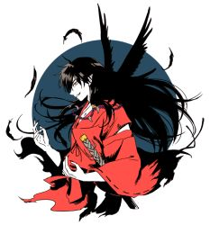 1boy animal animal_on_shoulder bird bird_on_shoulder black_feathers black_hair circle crow demon_boy feathers floating_hair from_side grin inuyasha inuyasha_(character) japanese_clothes jewelry katana long_hair male_focus motobi_(mtb_umk) necklace pearl_necklace pointy_ears profile smile solo spot_color sword weapon wide_sleeves