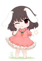 1girl ;3 animal_ears arm_behind_back black_hair blush bunny_ears carrot_necklace chibi commentary_request dress full_body inaba_tewi knees_together_feet_apart one_eye_closed petticoat pigeon-toed pink_dress puffy_short_sleeves puffy_sleeves red_eyes rei_(tonbo0430) short_sleeves solo touhou