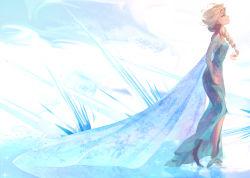1girl blonde_hair cape elsa_(frozen) frozen_(disney) highres panbukin standing