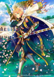 1boy bird blonde_hair blue_eyes boots cape company_name epaulettes feathered_wings flower full_body gloves gyakushuu_no_fantasica leaf male_focus official_art petals scarf sky solo sword weapon wings