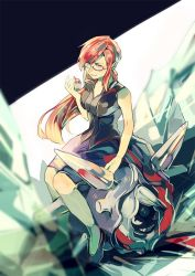 bare_arms bare_shoulders breasts cleavage cloyster elite_four glasses holding holding_pokeball ice kanna_(pokemon) large_breasts long_hair miniskirt pokeball pokemon pokemon_(game) pokemon_frlg ponytail red_eyes red_hair sitting skirt sleeveless smile