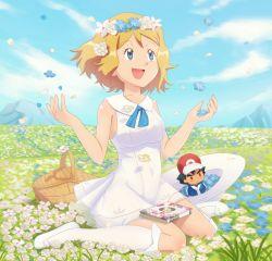 1girl :d absurdres basket blue_eyes blue_flower blue_sky book character_doll cloud cosplay doll dress field flats flower flower_field full_body gazing_eye hat hat_removed head_wreath headwear_removed highres lillie_(pokemon) lillie_(pokemon)_(cosplay) looking_up mountain open_mouth outdoors picnic_basket pokemon pokemon_(anime) pokemon_(game) pokemon_sm pokemon_xy satoshi_(pokemon) serena_(pokemon) shoes sitting sky smile solo wariza white_dress white_flower white_hat white_legwear white_shoes