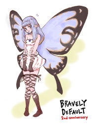 1girl aerie_(bravely_default) bare_shoulders blush bravely_default:_flying_fairy butterfly_wings copyright_name cross-laced_legwear dress dress_tug fairy flying_sweatdrops long_hair open_mouth pointy_ears short_dress silver_eyes silver_hair solo strapless_dress white_dress wings