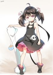 1girl black_hair bone boots clenched_hand dango_remi dress highres long_hair original oversized_object red_eyes ribbon simple_background skull sleeveless sleeveless_dress solo twintails white_background