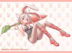 1girl animal belt bunny_ears bunny_suit bunny_tail ears league_of_legends pantyhose ranken red_eyes riven_(league_of_legends)