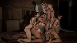 3d 5boys abs age_difference anal ass bara barefoot double_anal double_penetration facial_hair fellatio full_body gangbang group_sex licking multiple_boys muscle nude orgy pecs penetration resident_evil rimming sex source_filmmaker sucking tattoo yaoi