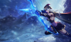 1girl arrow ashe_(league_of_legends) blue_eyes bow_(weapon) breasts cape dress gloves hood large_breasts league_of_legends long_hair mountain official_art short_dress sideboob snow solo thighhighs weapon white_hair winter