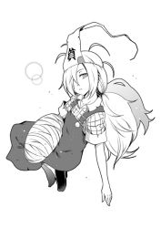 1girl binbougami_ga! kouji_(campus_life) long_hair momiji_(binbougami_ga!) monochrome single_shoe solo
