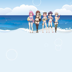5girls ahoge animal_hat bag bikini bikini_top blue_eyes breasts brown_hair camouflage cat_hat cloud cutoffs denim denim_shorts ebisuzawa_kurumi everyone folded_hair front-tie_top gakkou_gurashi! goggles gradient_background green_eyes hat highres holster knee_pads looking_at_viewer mole mole_under_eye multiple_girls naoki_miki ocean official_art orange_eyes pink_eyes pink_hair print_legwear sakura_megumi sandals satchel shoes shorts side-tie_bikini sky socks sparkle star_print striped striped_bikini striped_swimsuit swimsuit takeya_yuki thigh_holster thighhighs wakasa_yuuri water_gun zettai_ryouiki