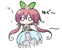 1girl angeltype blush blush_stickers chibi dress flower granblue_fantasy hair_flower hair_ornament long_hair low_twintails o_o open_mouth pink_hair solo tied_hair twintails yggdrasill_(granblue_fantasy)