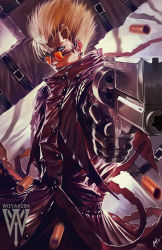 1boy absurdres blonde_hair blue_eyes ceasar_ian_muyuela coat cross earrings glasses gloves gun high_collar highres jewelry long_coat male_focus mole red_coat short_hair solo spiked_hair standing sunglasses trigun vash_the_stampede weapon