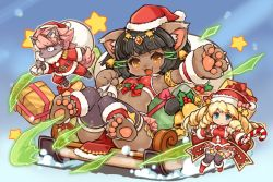 1boy 2girls animal_ears aqua_eyes armlet bastet_(fullbokko_heroes) bell black_hair blonde_hair box candy candy_cane cat_ears cat_tail claws drill_hair earrings eyebrows_visible_through_hair fang food fullbokko_heroes furry gift gift_box hat holding jewelry jingle_bell long_hair mistletoe multiple_girls official_art open_mouth orange_eyes outstretched_arm paws pelvic_curtain santa_costume santa_hat shigatake short_hair sitting sled smile snow star sweat tail thick_eyebrows thighhighs toeless_legwear