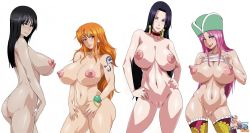 4girls areolae artist_request boa_hancock curvy huge_breasts jewelry_bonney large_breasts lineup lips long_hair looking_at_viewer nami_(one_piece) nico_robin nipples nude one_piece smile tattoo