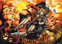 2girls apron bat blonde_hair bow braid broom broom_riding brown_eyes brown_hair ghost hair_bow hakurei_reimu halloween hat jack-o'-lantern kirisame_marisa lantern moon mosho multiple_girls night open_mouth puffy_short_sleeves puffy_sleeves shirt short_sleeves single_braid skirt skirt_set skull sky smile touhou traditional_media tree vest waist_apron watercolor_(medium) witch_hat yellow_eyes