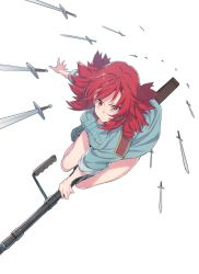 1girl action bangs blue_boots boots breasts closed_mouth dress fingernails floating_object from_above full_body gun hair_ornament hair_ribbon highres izetta long_fingernails looking_at_viewer outstretched_arm pocket red_eyes red_hair ribbon riding rifle shade short_hair shuumatsu_no_izetta simple_background sleeves_rolled_up solo spread_fingers supernew sword too_many_weapons tress_ribbon weapon white_background