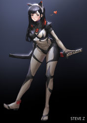 1girl absurdres animal_ears artist_name bangs black_hair blush bodysuit breasts brown_eyes cat_ears eyelashes fake_animal_ears full_body gradient gradient_background heart highres holding holding_sword holding_weapon katana legs_apart long_hair long_sleeves looking_to_the_side medium_breasts original parted_lips scabbard sheath sheathed skin_tight solo spoken_heart standing standing_on_one_leg steve_zheng sword teeth turtleneck weapon weapon_on_back