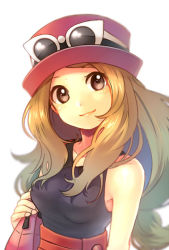 1girl bag blonde_hair blurry brown_eyes bust depth_of_field handbag hat long_hair looking_at_viewer low-tied_long_hair pokemon pokemon_(game) pokemon_xy porkpie_hat red_skirt sekka_koyori serena_(pokemon) skirt sleeveless sleeveless_shirt smile solo sunglasses sunglasses_on_head white_background