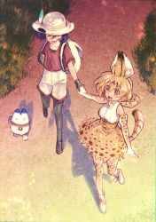 2girls ^_^ absurdres animal_ears backpack bag bare_shoulders black_hair blonde_hair blush bow bowtie bucket_hat check_commentary commentary commentary_request elbow_gloves eyes_closed gloves grass hand_holding hat hat_feather highres kaban kemono_friends lucky_beast_(kemono_friends) meiji_(charisma_serve) multiple_girls open_mouth outdoors pantyhose road serval_(kemono_friends) serval_ears serval_print serval_tail shirt short_hair shorts skirt sleeveless smile tail