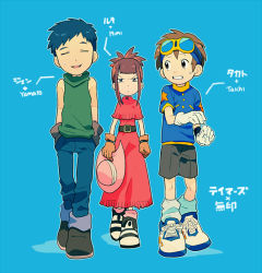 1girl 2boys blue_hair brown_hair digimon digimon_adventure digimon_tamers dress eyes_closed furrowed_eyebrows gloves goggles goggles_on_head hands_in_pockets hat hat_removed headwear_removed ishida_yamato ishida_yamato_(cosplay) li_jenrya makino_ruki matsuda_takato multiple_boys ponytail red_hair shorts sun_hat sweatdrop t_k_g tachikawa_mimi tachikawa_mimi_(cosplay) yagami_taichi yagami_taichi_(cosplay)