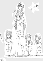 5girls ahoge animal_hat artist_name baseball_cap carrying cat_hat commentary_request eyepatch hand_holding hat kantai_collection kiso_(kantai_collection) kitakami_(kantai_collection) kuma_(kantai_collection) long_hair monochrome multiple_girls neckerchief ooi_(kantai_collection) short_hair shorts shoulder_carry skirt tama_(kantai_collection) younger
